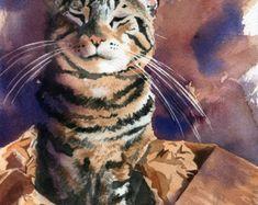 Brown Tabby Cat arte stampa di mio acquerello dipinto gatto in una scatola