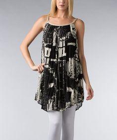 Another great find on #zulily! Black & Off-White Braided-Trim Tunic - Women by Vasna #zulilyfinds