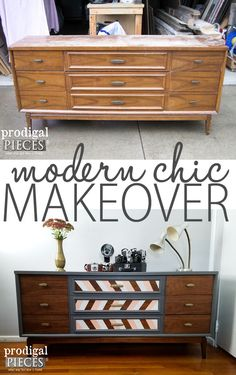 Modern Chic Makeover of a Mid Century Modern Dresser Credenza by Prodigal Pieces   www.prodigalpieces.com
