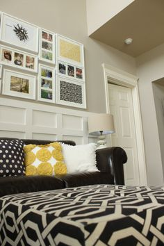 gorgeous gallery wall & mix of fabrics