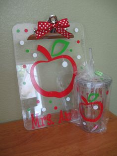 Teacher Gift set Personalized with name clear by DeLaDesign, $24.00