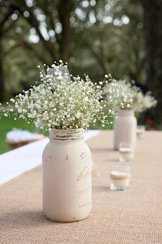 Distressed Mason Jar, Painted Mason Jar centerpiece, Rustic Wedding Decor, Rustic Mason Jar Vase
