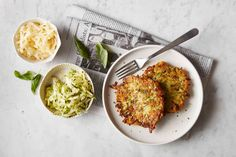 Savory zucchini, scallion, and cheese griddle cakes.