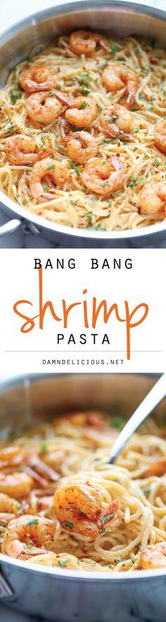 Bang Bang Shrimp Pasta - use spaghetti squash! The favorite bang bang shrimp is turned into the creamiest, easiest pasta dishes of all! Fish Recipes, Seafood Recipes, Pasta Recipes, Dinner Recipes, Cooking Recipes, Healthy Recipes, Seafood Meals, Cooking Kale, Snacks
