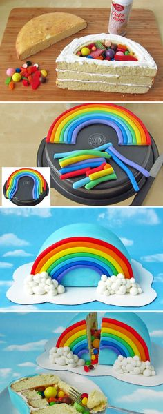Rainbow cake filled with yummy treats