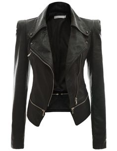 Doublju Women's Faux Leather Power Shoulder Jacket at Amazon Women's Coats Shop