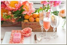 Such great colors for a pool party or brunch with the besties. Champagne Bar, Vintage Champagne, Fruits Decoration, Decoration Table, Tapas, Coral Charm Peony, Coral Peonies, Coral Blush, Woods Photography