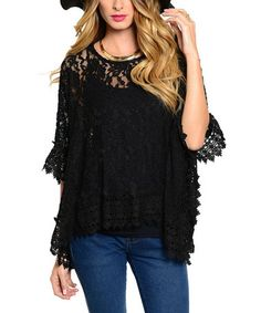 Another great find on #zulily! Black Lace Sidetail Top #zulilyfinds