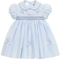 Baby Girls Pale Blue Hand Smocked Dress , Sarah Louise, Girl