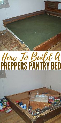 How To Build A Preppers Pantry Bed - There are hidden pantry tutorials on the we. How To Build A P Survival Shelter, Wilderness Survival, Camping Survival, Survival Prepping, Survival Skills, Camping Tips, Outdoor Survival, Hidden Pantry, Hidden Storage