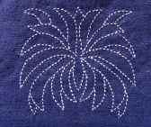 Pochette en lin bleue indigo doublée et broderie Japonaise Sashiko 'KIMIKO GO'