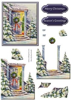 Christmas Door Decoupage on Craftsuprint designed by Russ Smith - Decoupage sheet and greeting banners using a vintage painting of an open door covered in snow with a Christmas tree. Matching backing available. - Now available for download!