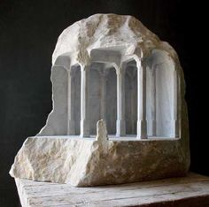 Carara marble Buildings, Structures and Parts statues or Sculptures #sculpture by #sculptor Matthew Simmonds titled: 'Study 34 (Carved Miniature Interior Pillared Room)' £7000 #art