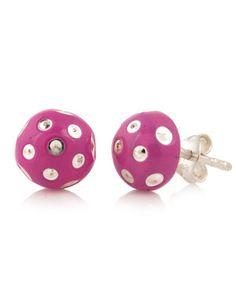 Pink Floral Enamel 925 Sterling Silver Ear Studs | Rs. 490 | http://voylla.com