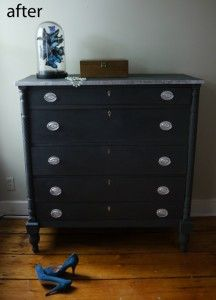 Painted wood dresser using Ann Sloan chalk paint - no need to sand or prime!