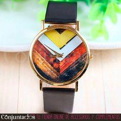 Adorna tu muñeca con nuestro bonito reloj Geometrisk, cuyos dibujos hacen honor a su nombre. Un complemento cómodo y funcional que seguro combina genial con el 100% de tu armario ★ Precio: 12,95 € en  http://www.conjuntados.com/es/reloj-geometrisk-con-correa-negra.html ★ #novedades #reloj #watches #uhren #montre #bracelet #joyitas #accesorios #complementos #shopping #trendy #tendencias #tendances #moda #mode #estilo #style #chic #luxe #love