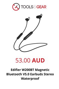 Edifier W200BT Magnetic Bluetooth V5.0 Earbuds Stereo Waterproof Sport in-ear Wireless Earphone with Microphone - Black Computer Gadgets, Magnets, Bluetooth, Headphones, Ear, Sport, Black, Blue Tooth, Headset