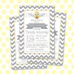 Yellow & Grey Owl Baby Shower Invitation Printable. LOVE CHEVRON PRINT.