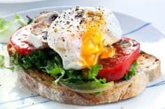 poached egg - love to make on ww english muffins + Trader Joe's artichoke red pepper tapenade and steamed spinach
