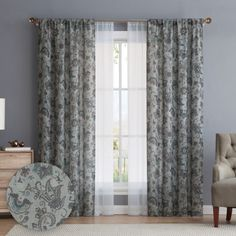 Add style and privacy to your windows with the 84-in. Avon 4-panel window curtain set from VCNY. The two printed panels feature a gorgeous paisley pattern while the two sheer panels offer privacy without sacrificing natural light. It offers a muted color palette of green, brown and blue that coordinates well with existing decor. The 4-panel set offers a trendy layered look for your bedroom, dining room or living room.