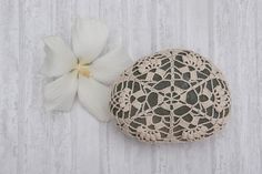 Hand crochet lace stone cream water lily natural by TableTopJewels, $40.00