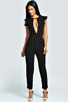 Arlo Deep Front Split Woven Jumpsuit at boohoo.com