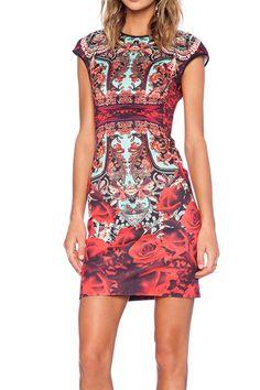Round Neck Cap Sleeve Print Sheath Dress