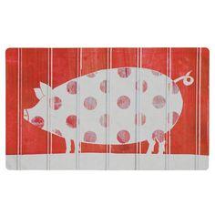 "Mohawk Polka Pig Kitchen Comfort Mat - Red (18""x30"")"