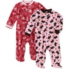 Faded Glory Newborn Girls' 2-Pack Micro Fleece Sleep n Play