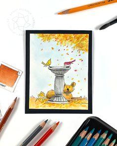Watercolor Pencils Techniques, Colored Pencil Techniques, Same Ol Same Ol, Sandy Allnock, Autumn Scenes, Spectrum Noir, Dog Cards, Fall Cards, Big Love