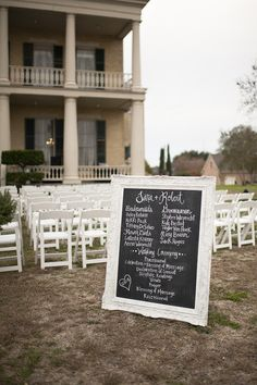 #programs #chalkboard Photography by alysefrenchphotography.com Floral Design by moosefeathersflorist.com  Read more - http://www.stylemepretty.com/2012/06/11/brenham-wedding-at-giddings-stone-mansion-by-alyse-french-photography/