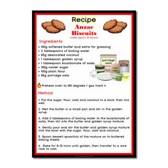 Cooking with Kelsey classroom activity. poster recipe for Anzac biscuits - Cooking with Kelsey teaching resources Recipe For Anzac Biscuits, Biscuit Recipe For Kids, Kids Cooking Activities, Montessori Activities, Kids Meals, Anzac Day Australia, Cooking In The Classroom, Teaching Resources, School Resources