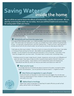 Saving water inside the home, by the Oregon Water Resources Department