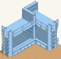 Corner Bunk Beds | Built-In Bunk Bed Plans – 4 Bed Corner Plan | Kid's Room  | Pinterest | Built in bunks, Four corners and Infos