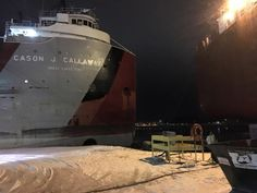 Cason J. Callaway and Mesabi Miner in Sturgeon Bay, Wisconsin. — at Bay Shipbuilding. - March 6, 2016 - Photo by Jon Kruse