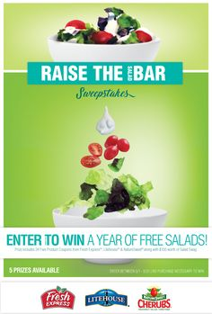 Join Litehouse, Fresh Express and NatureSweet tomatoes in our mission to Raise The Salad Bar! Enter to win one of five gift baskets that include a year's worth of salad and $100 worth of salad swag! Canadian Contests, Great Recipes, Favorite Recipes, Free Sweepstakes, Prize Giveaway, Make Real Money, Salad Bar, Enter To Win, Gift Baskets