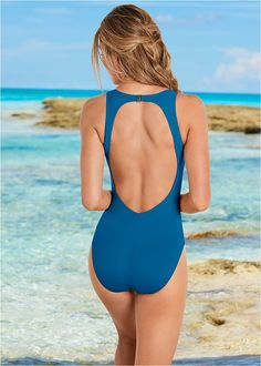 7fd8fb898d Venus Women s Plus Size Keyhole Back One-Piece Swimsuit - Blue