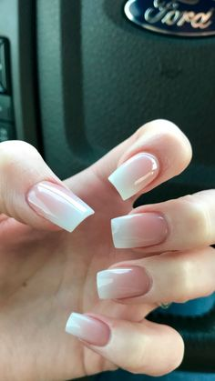 ombré pink and white nails