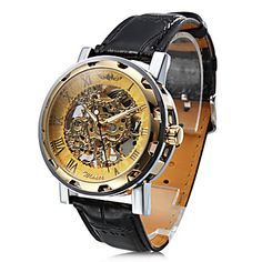 Unisex+Semi-Mechanical+Hollow+Engraving+Gold+Dial+Black+PU+Band+Analog+Wrist+Watch+–+AUD+$+31.48