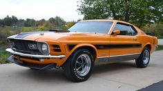 1970 Mustang Mach 1 Twister Special - Sold through Kansas City district dealerships, only 96 units were produced. Ford apparently only had enough 428s on hand to build 48 such cars, so it substituted 351 Cleveland V-8s for another 48, all of them painted Grabber Orange.