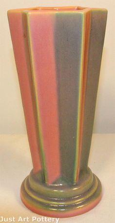 Roseville Pottery Futura Pleated Star Vase from Just Art Pottery Vintage Pottery, Pottery Art, Roseville Pottery, Pottery Classes, China Porcelain, American Art, Vases, Ohio, Depression