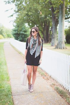 fall style, fall fashion, blanket scarf, little black dress, fall outfit ideas // a southern drawl