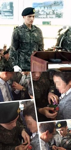 150506 Kim Jaejoong at the Boot Camp Graduation Ceremony. Transformed from Private to ′military soldier Kim Jaejoong.′ Following the ceremony, he was encouraging the other soldiers. He was also pinning a carnation on his mother′s chest for Parents′ Day (May 8).  He was enlisted at the First Division Recruits Training Center in Paju-si on March 31 for 5 weeks of basic training, then after the completion ceremony he will be in the 55th Bonghwa Division unit until discharged December 30, 2016.