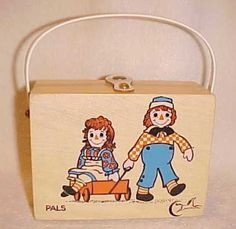 Enid COLLINS Of Texas Wood Child's Purse PALS Raggedy Ann & Andy #EnidCollinsofTexas #Box