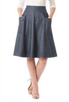 Cargo pocket cotton chambray skirt #eShakti