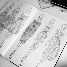 fashion illustration images, image search, & inspiration to browse every day. Fashion Design Sketchbook, Fashion Design Portfolio, Fashion Design Drawings, Fashion Sketches, Paper Fashion, Fashion Art, Fashion Illustration Dresses, Fashion Illustrations, Zuhair Murad