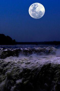 Full Moon above Iguazu Falls, Argentina Mystic Moon, Iguazu Falls, Beautiful Moon, Stars And Moon, Amazing Nature, Full Moon, Night Time, Moonlight, Paths