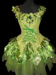 CUSTOM MADE awesome tinkerbell style fairy costume with 3-d details and tons of rhinestones and sparkle. $345.00, via Etsy.