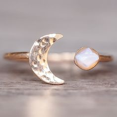 Rose Gold Little Raw Opal and Moon Ring | Bohemian Gypsy Festival Jewellery | Indie and Harper