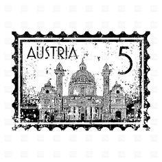 Postage stamp with St. Charles's Church in Vienna, Austria, 16392 ...